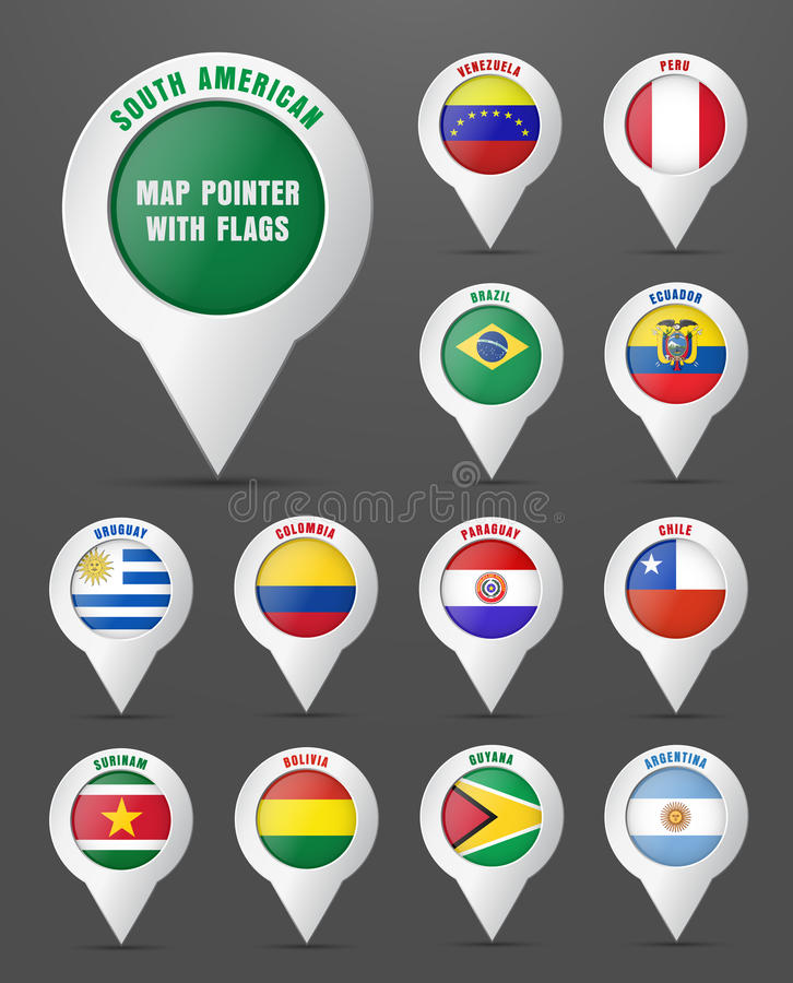 Set the pointer to the map with the flag of South American count royalty free illustration