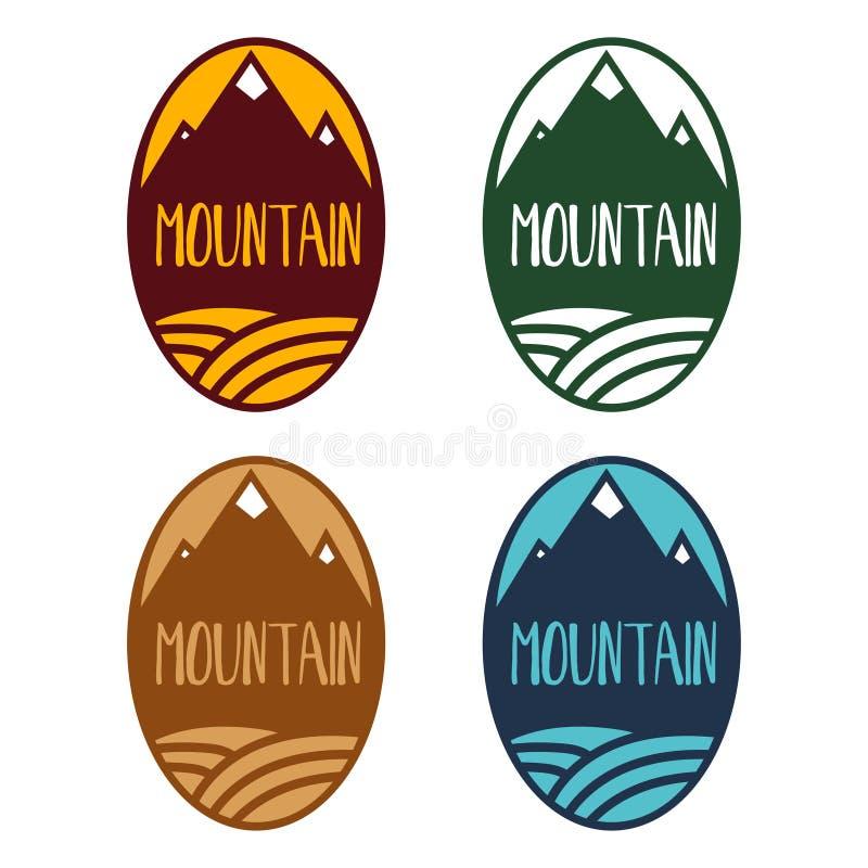 Set pojęcie etykietki z górami i rzeką ilustracja wektor