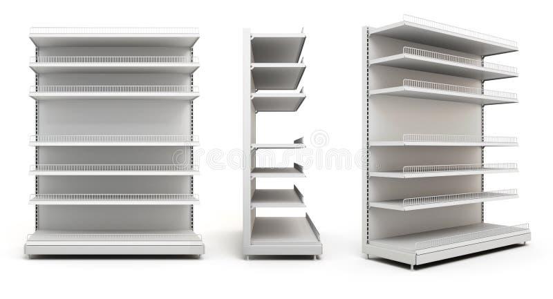 Set pokazy z półkami na bielu fotografia stock