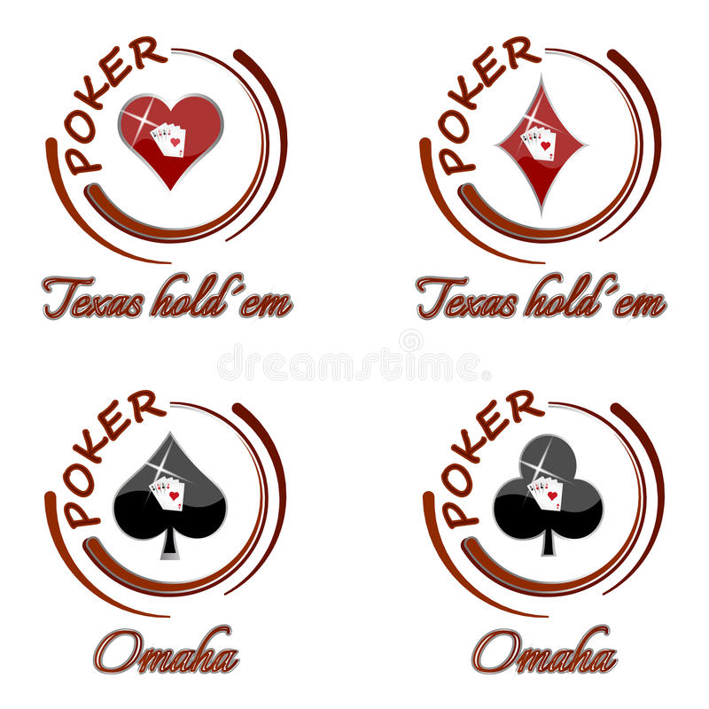 Set of poker icons with playing card symbol on a white background. Illustration royalty free illustration