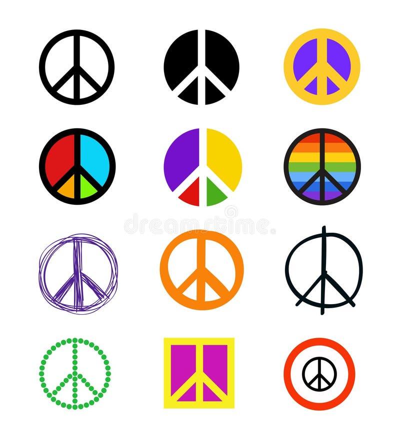 Set pokojów znaki Kolorowi symbole w różnych stylach ilustracja wektor