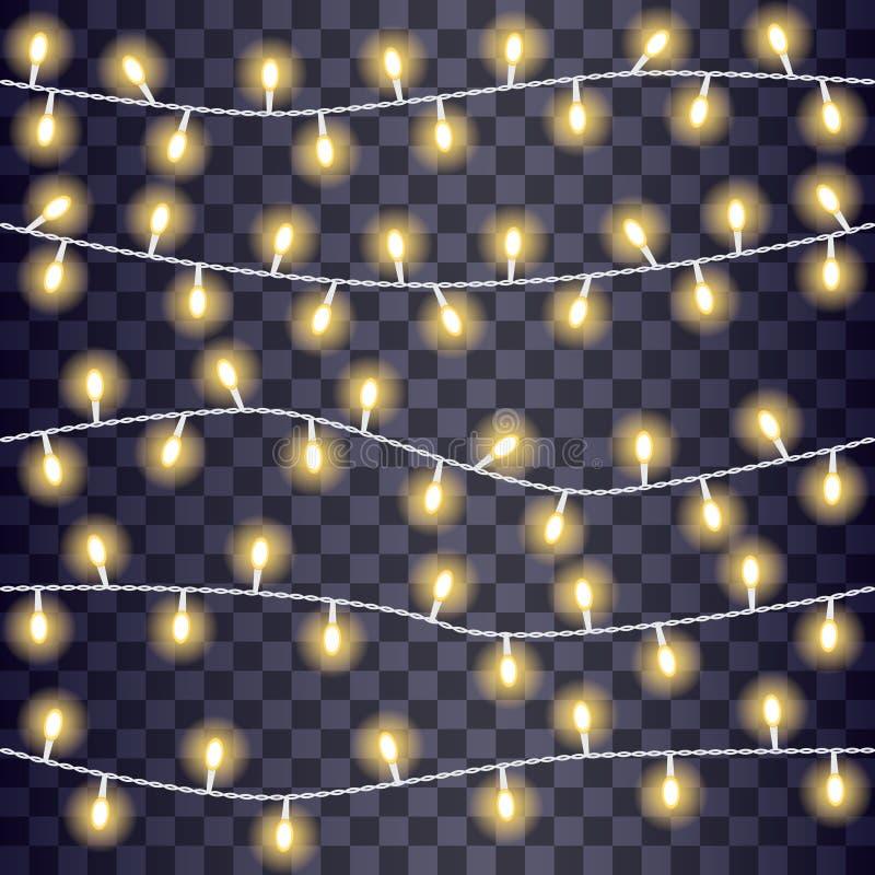 Set pokrywać się, rozjarzony sznurek zaświeca na przejrzystym tle również zwrócić corel ilustracji wektora royalty ilustracja
