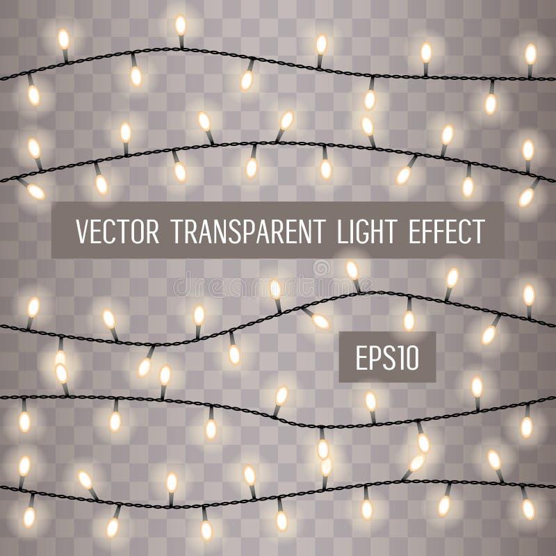 Set pokrywać się, rozjarzony sznurek zaświeca na przejrzystym tle również zwrócić corel ilustracji wektora ilustracja wektor
