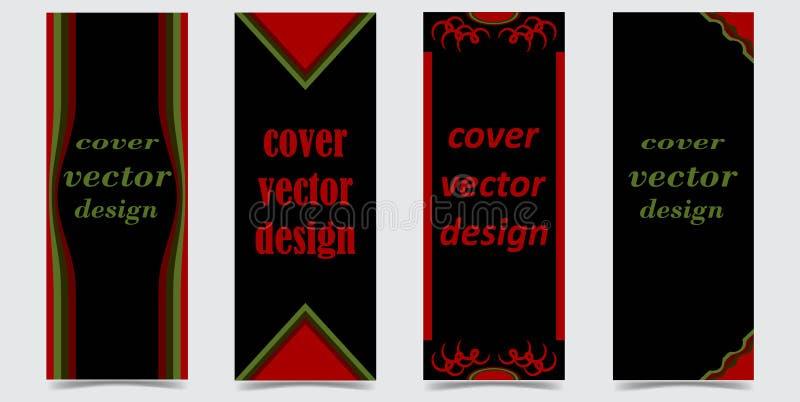 Set pokrywy z abstraktem kształtuje na czarnym tle ilustracja wektor