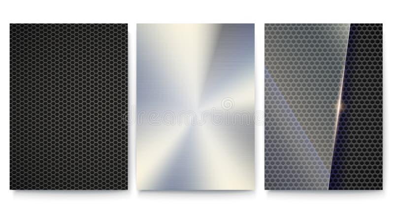Set pokrywy z metal powierzchniami Wektorowy szablon plakat Tło z siatką, talerzem i szkłem dla sztandarów metalu, ilustracja wektor