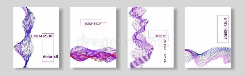Set pokrywy z purpury fala wiele barwione linie Abstrakcjonistyczni faliści lampasy na białym tle odizolowywającym royalty ilustracja