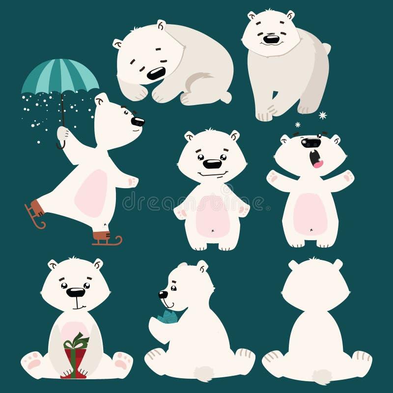 Set of polar bears. Collection of cartoon polar bears. Christmas illustration for children. vector illustration