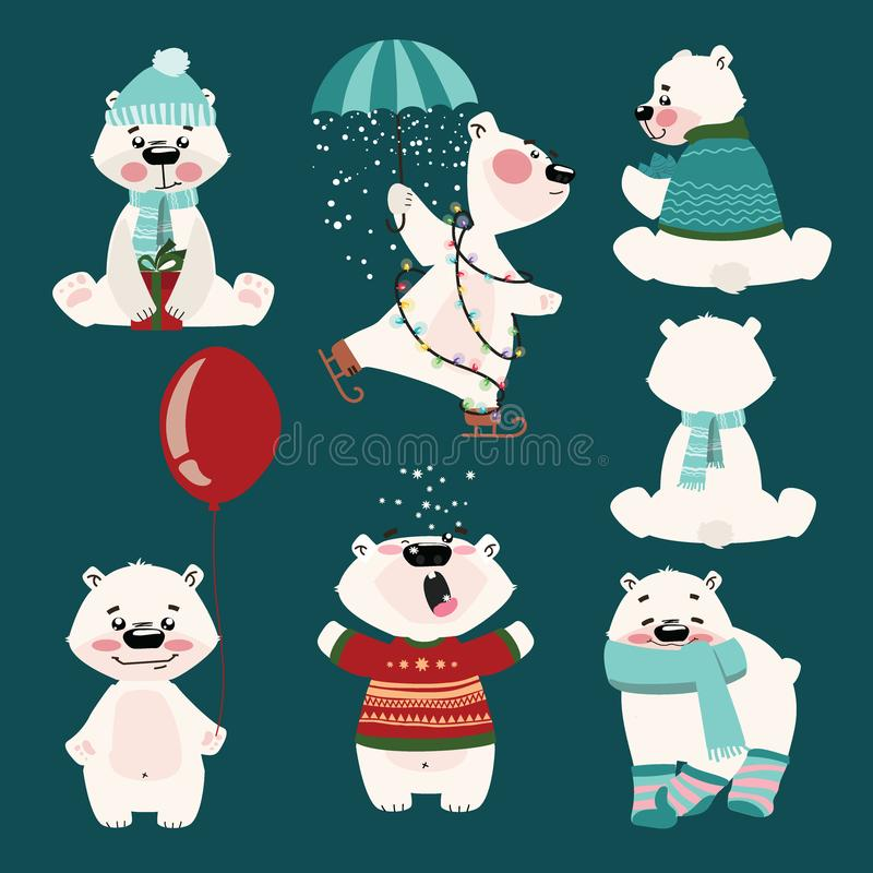 Set of polar bears. Collection of cartoon polar bears. Christmas illustration for children. stock illustration