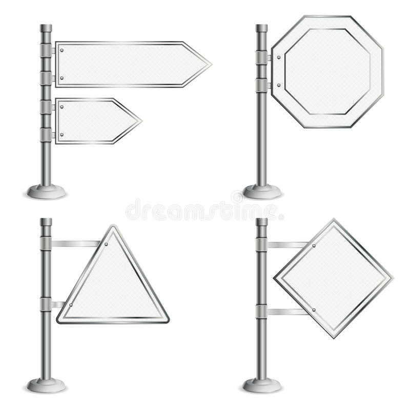 Download Set Poles With Traffic Signs Stock Vector - Illustration of blank, road: 26423031