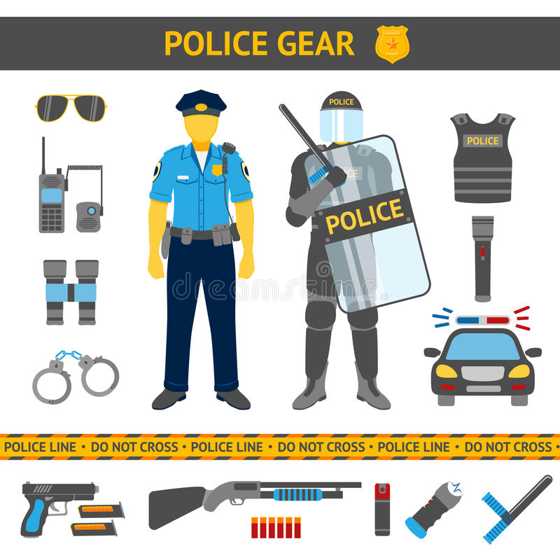 Set of Police icons - gear, car, weapons, two. Set of Police icons - gear, car, weapons and two policemen in daily uniform and in riot gear. Vector illustration royalty free illustration