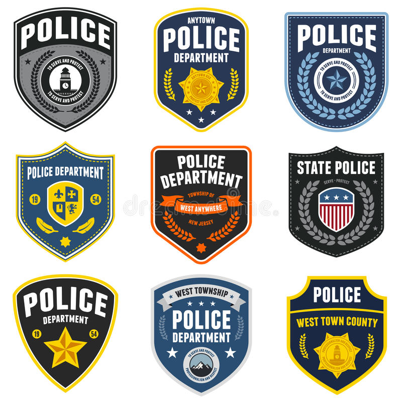 Police patches vector illustration