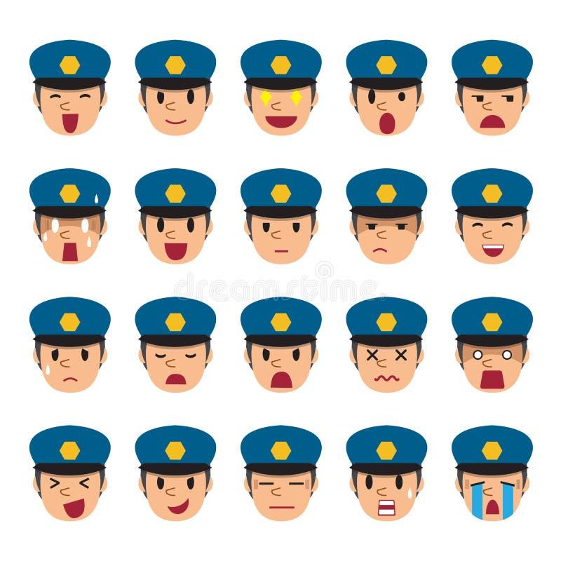 Set policjant twarze pokazuje różne emocje royalty ilustracja