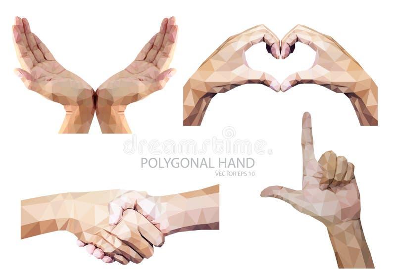 Set poligonalny ręka gest odizolowywający na białym tle ilustracja wektor