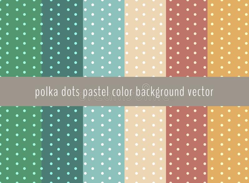 Set of polka dots pattern on pastels green, yellow, blue and bro stock illustration