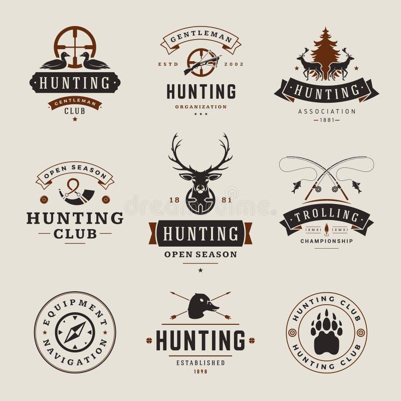 Set polowania i połowu etykietki, odznaki, logowie royalty ilustracja