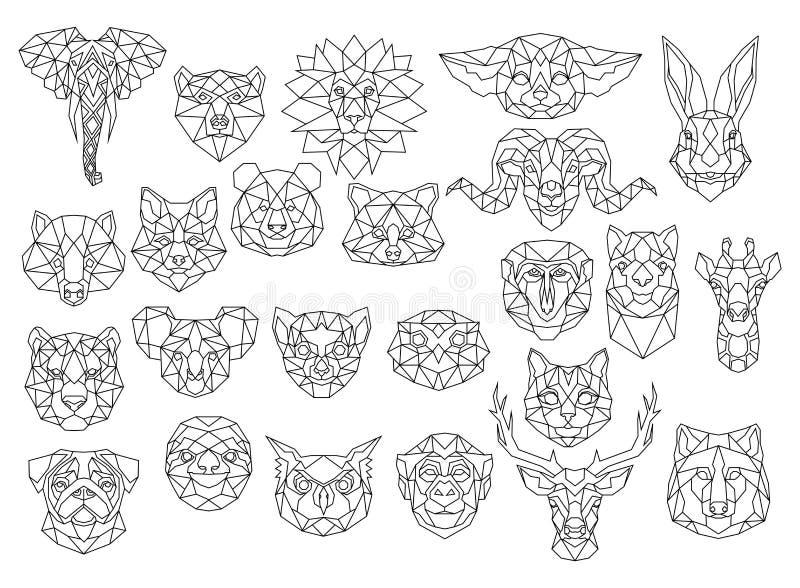 Set of polygonal animal portraits. Collection of geometric animal heads. Black white illustration. Linear art. Tattoo. Set of polygonal animal portraits royalty free illustration