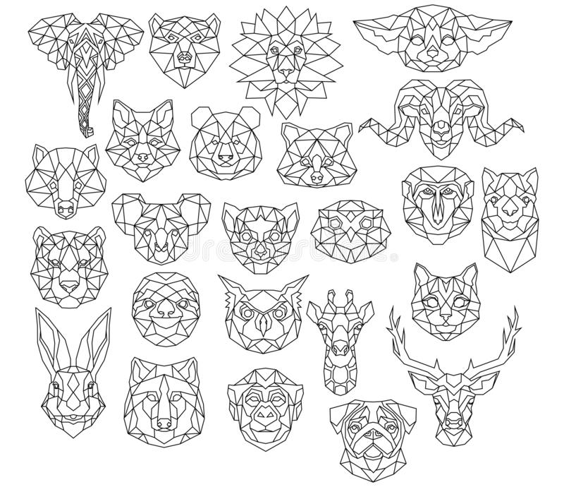 Set of polygonal animal portraits. Collection of geometric animal heads. Black white illustration. Linear art. Tattoo. Set of polygonal animal portraits vector illustration