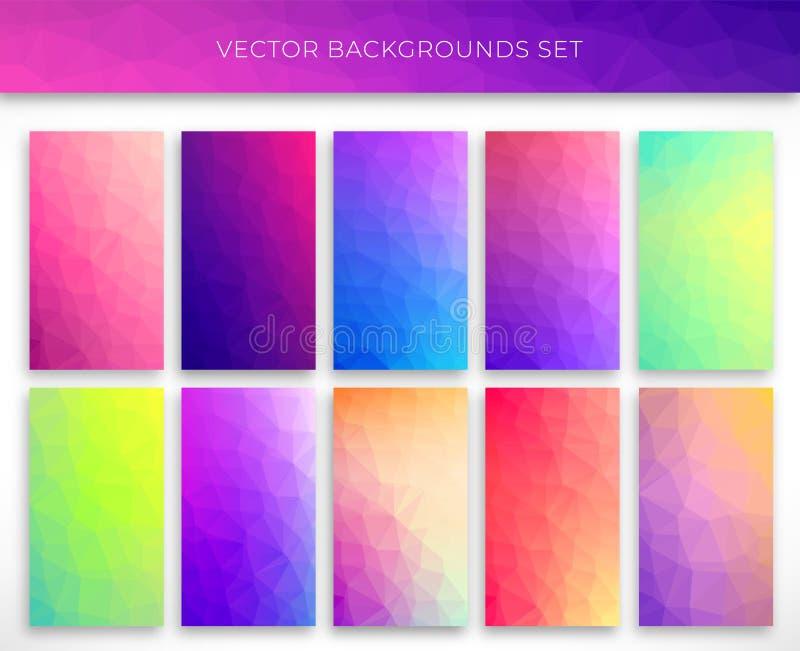 Set polygonal backgrounds vector illustration