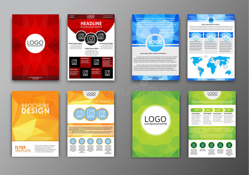 Set Polygonal Brochures And Flyers Stock Vector Illustration Of