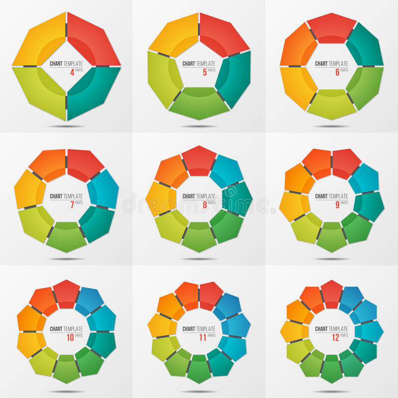 Set of polygonal circle chart templates with 4-12 parts vector illustration