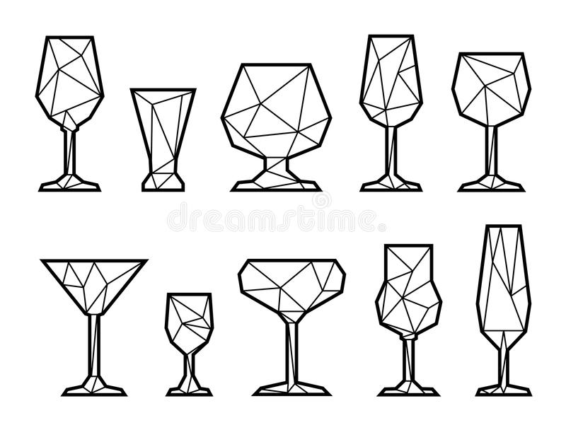 Polygonal icon of wine glass. Black and white. Set polygonal icon of wine, champagne, martini, vodka and cocktail glass. Black and white alcoholic glasses stock illustration
