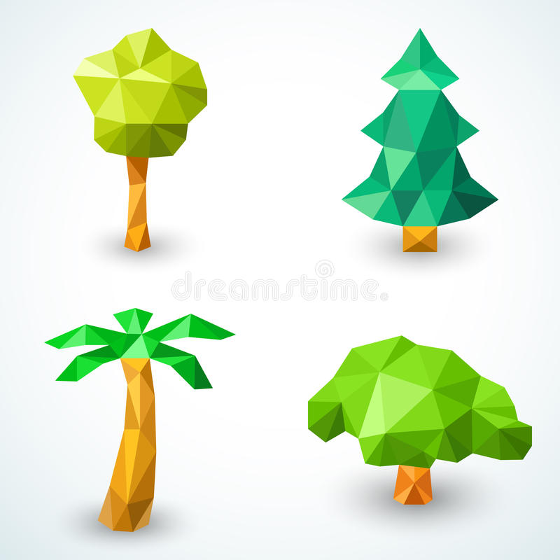 Set of polygonal origami tree icons. Vector royalty free illustration
