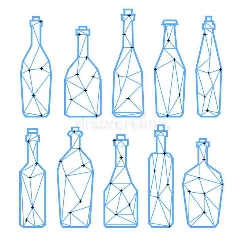 Set polygonal triangle alcohol bottles, champagne and wine. Set polygonal triangle alcohol bottles, champagne, bier and wine. Low poly or geometric style. eps10 stock illustration