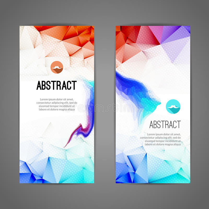 Set of polygonal and triangular waves geometric banners for modern design. Web, commerce, events stock illustration