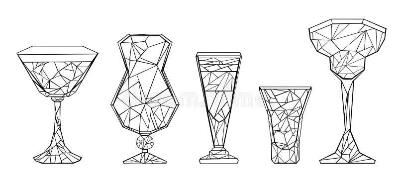 Set of polygonal wineglass on white background. Set of polygonal, contour glasses, hurricane, margarita, shot, stack on white background stock illustration