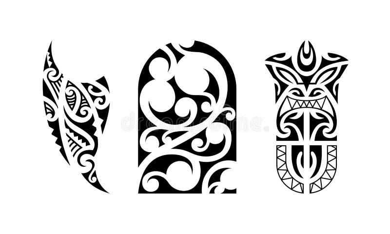 Set polynesian tatuaż ilustracja wektor