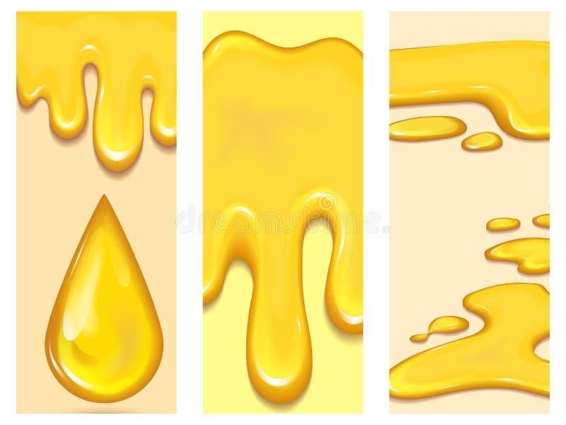 Set pomarańczowy miód opuszcza flayer broszurki i żółtego pluśnięcie kart zdrowego syropu kapinosa złotego karmowego ciekłego wek ilustracja wektor
