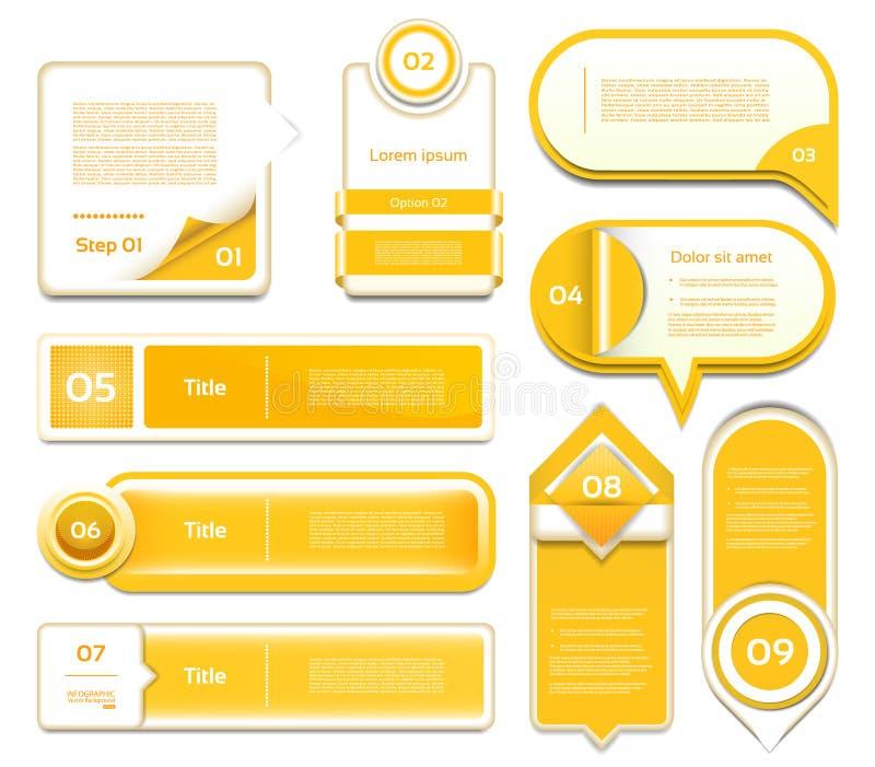 Set pomarańczowy wektorowy postęp, wersja, krok ikony ilustracja wektor
