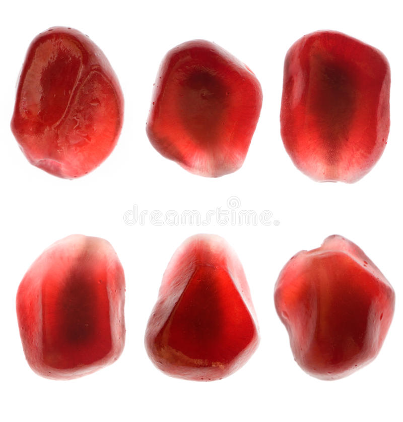Set of pomegranate seeds stock photo