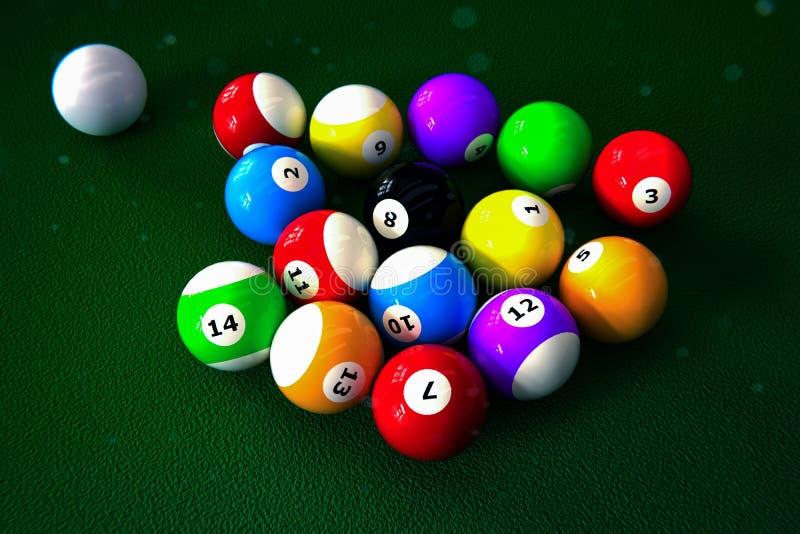 Set of pool balls on green table. 3d illustration royalty free illustration