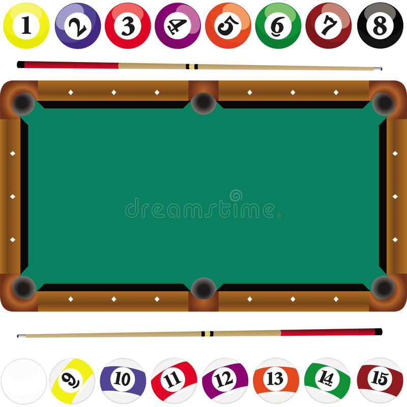 Set of pool balls with pool table and cues. This image represents a complete set of pool / billiard balls with a wooden table and wooden cues stock illustration
