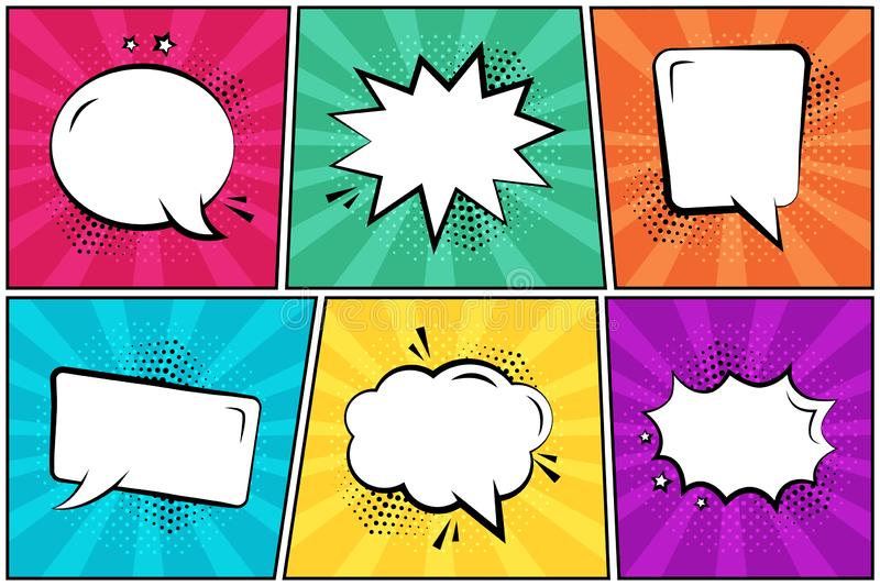 Set in pop art style. White empty comic speech bubbles on colorful background. Vector stock illustration
