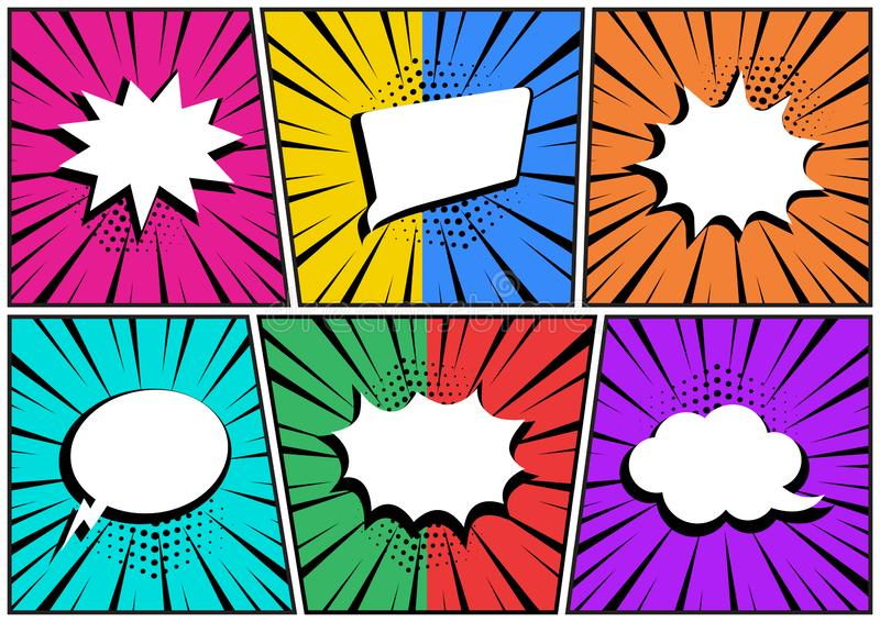 Set in pop art style. White empty comic speech bubbles on colorful background. Vector. Illustration royalty free illustration