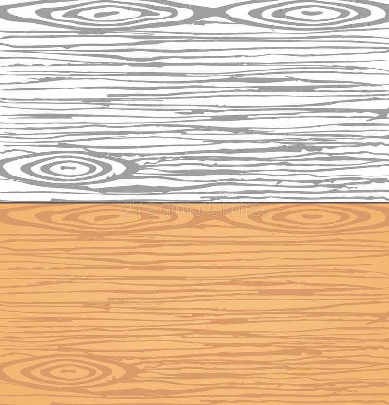 Set popielate i brown drewniane deski, ściana Ciąć lub ciapania deski Drewniana tekstura ilustracja wektor