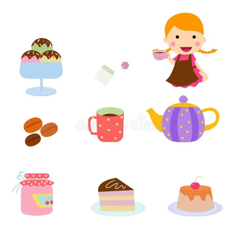 Set popołudniowej herbaty ikona royalty ilustracja