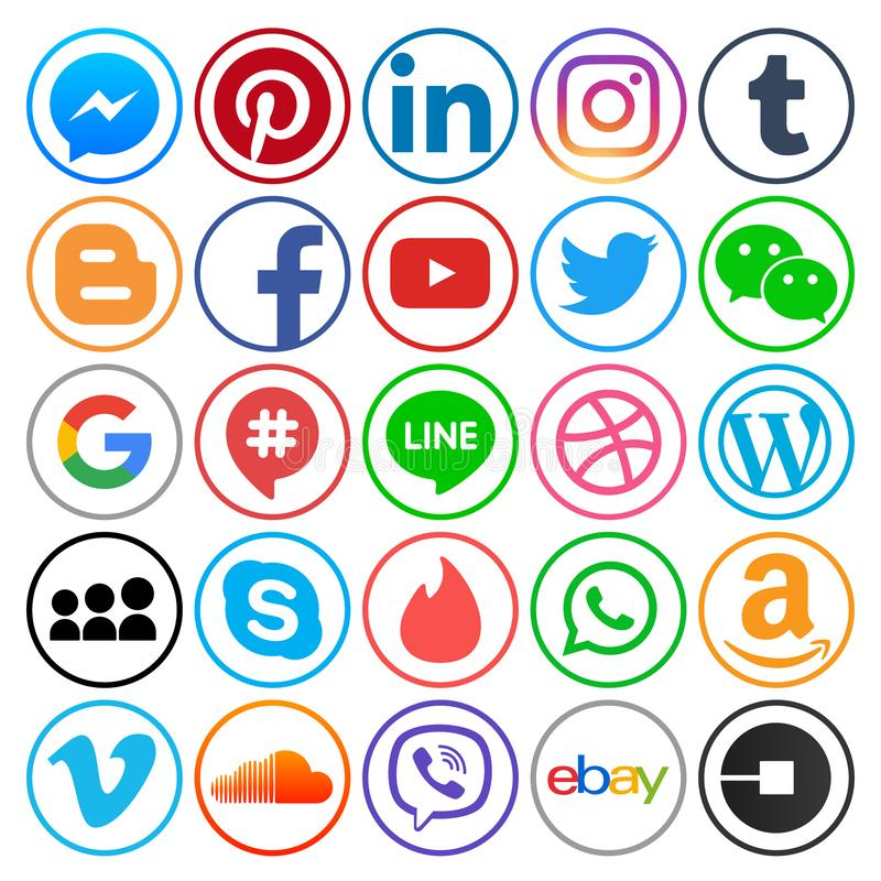 Set of popular circle social media icons. December 12, 2018: Set of popular circle social media icons: Facebook, Twitter, Google Plus, Instagram, Pinterest vector illustration