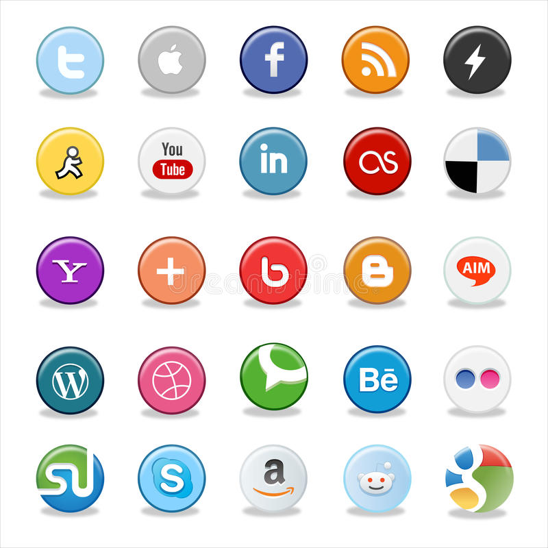 Social media buttons. Set of popular social media buttons isolated on white stock illustration