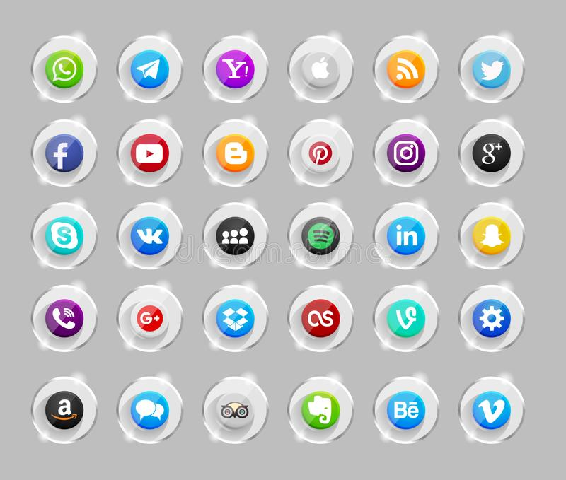 Set of popular social media icons. Pinterest, Twitter, YouTube, WhatsApp, Snapchat, Facebook ,Feed, Linkedin, Yahoo and others royalty free illustration