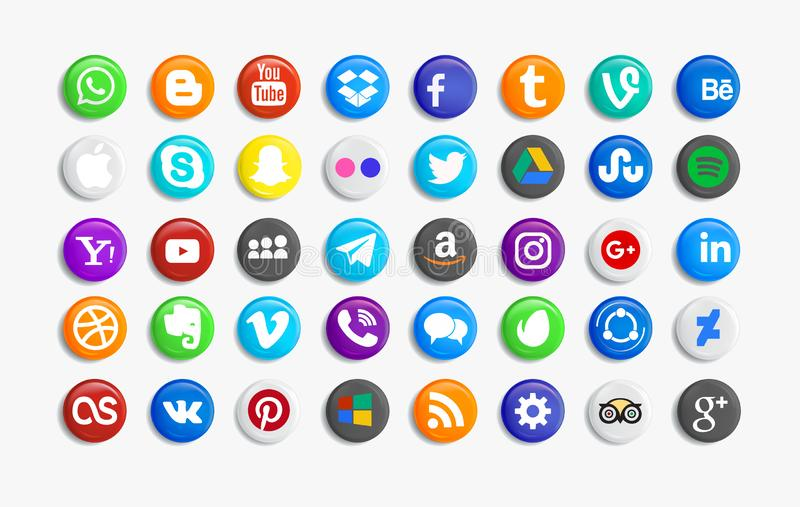 Set of popular social media icons. Pinterest, Twitter, YouTube, WhatsApp, Snapchat, Facebook ,Feed, Linkedin, Yahoo and others vector illustration