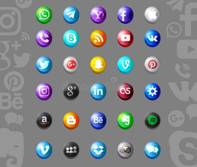 Set of popular social media icons. Pinterest, Twitter, YouTube, WhatsApp, Snapchat, Facebook ,Feed, Linkedin, Yahoo and others stock illustration