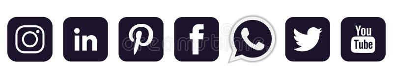 Set of popular social media logos icons in black Instagram Facebook Twitter Youtube WhatsApp element vector on white background. Set of popular social media vector illustration
