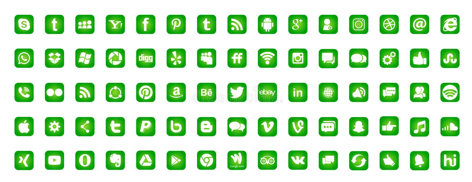 Set of popular social media logos icons Instagram Facebook Twitter Youtube WhatsApp LinkedIn Pinterest Blogd on white background vector illustration