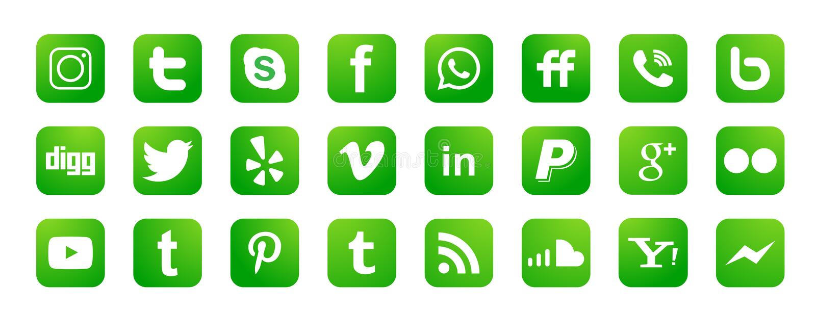 Set of popular social media logos icons Instagram Facebook Twitter Youtube WhatsApp element vector on white background. In ai10 illustrations vector illustration