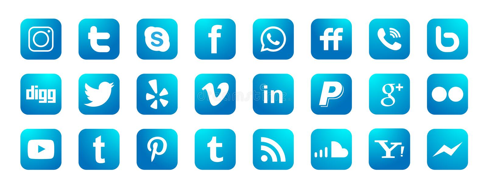 Set of popular social media logos icons Instagram Facebook Twitter Youtube WhatsApp element vector on white background. In ai10 illustrations stock illustration