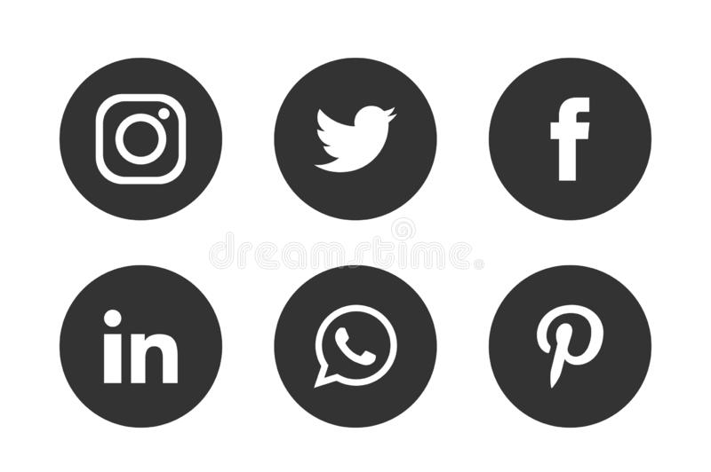 Set of popular social media logos icons Instagram Facebook Twitter Youtube WhatsApp pinterest linkedin element vector. Set of popular social media logos icons stock illustration