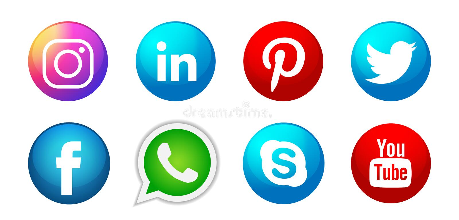 Set of popular social media logos icons Instagram Facebook Twitter Youtube WhatsApp element vector on white background. Set of popular social media logos icons royalty free illustration